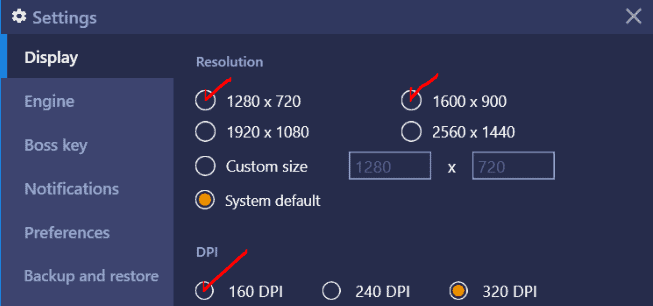Bluestacks display setting
