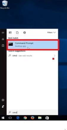 Command Prompt in search results