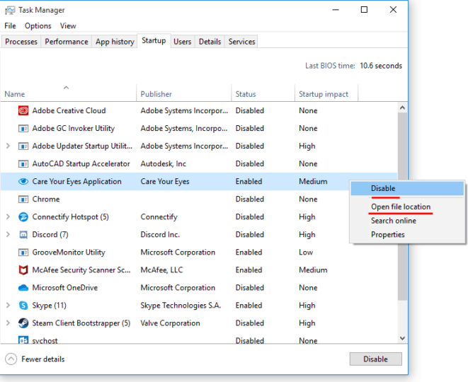 Removing programs from windows startup process