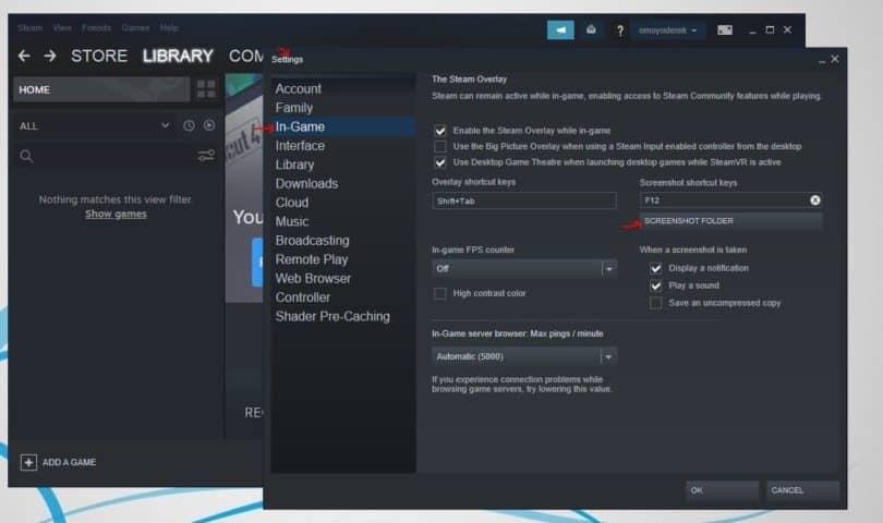 Screenshot Folder Under In-Game Tab