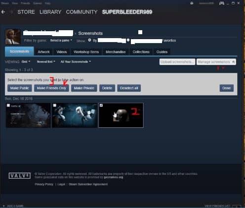 Screenshots Tab on Steam Cloud