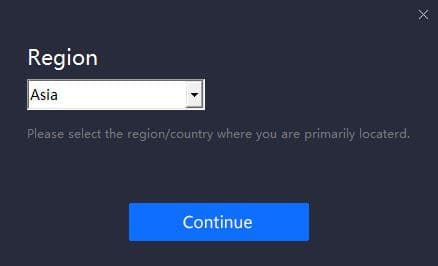 Select Region Page