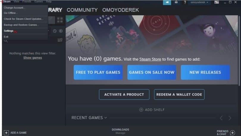 Steam Button On Steam User Interface