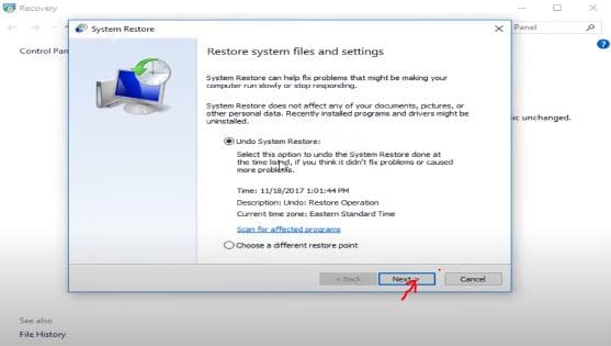 System Restore Tab On Opening System Restore