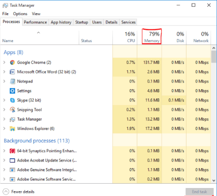 Windows-Task manager's Memory Bar