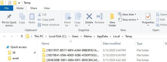 temp files foldere