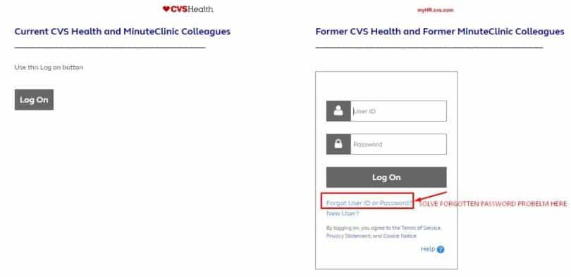 MyHR CVS Forgot User ID or Password Tab