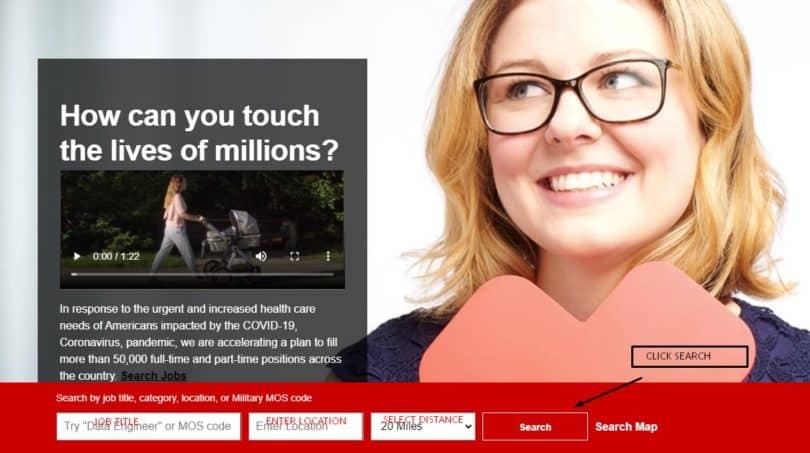 MyHR CVS Job Search Page
