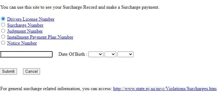 njmcdirect Surcharge Payment