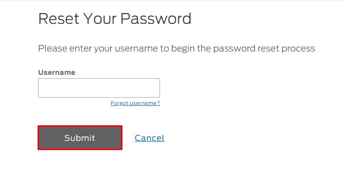 Reset Ford Credit Password