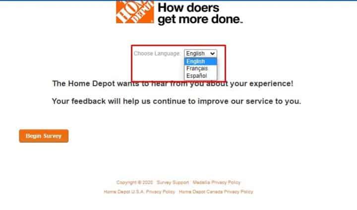 Home Depot Online Survey: Choose Language