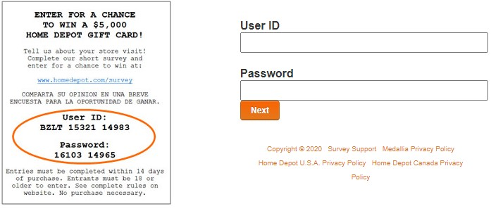 Enter Home Depot User ID and Password