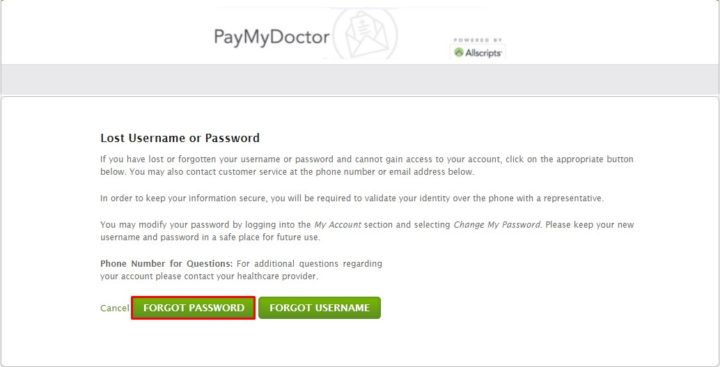 Forgot PayMyDoctor Password