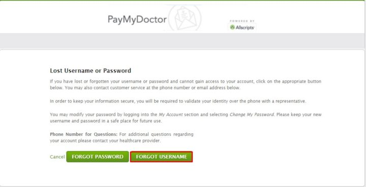 Reset PayMyDoctor Username
