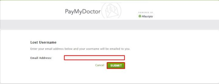 Lost https://Www.Paymydoctor.Com Username