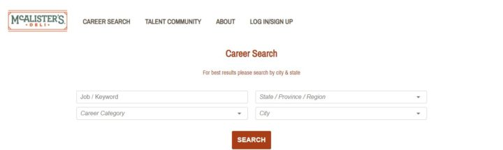 McAlister's Deli Career Search