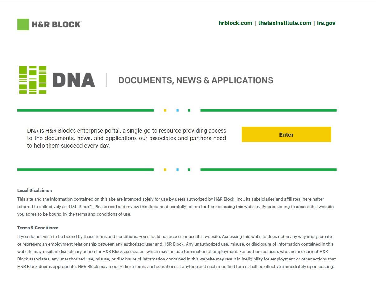 DNA HRBlock: H&R Block Employee Login