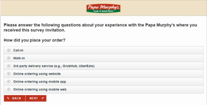 Papa Murphy's Survey Questions